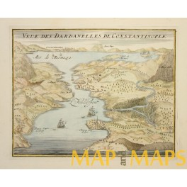 DARDANELLES AND CONSTANTINOPLE OLD PLAN BY DE FER 1695