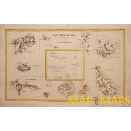 CAPE VERDE ISLANDS AFRICA 1855 ANTIQUE MAP
