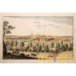 1654 antique engraving, Liebenau Weser, Germany Merian
