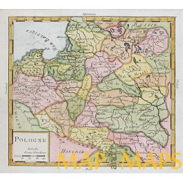POLAND PRUSSIA OLD MAP VAUGONDY 1756