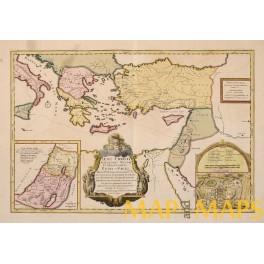 1720 Iesu Christi, Jerusalem antique map, Apostles Peter & Paul travel way's by Sanson