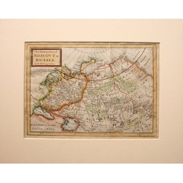 Antique Russian map shows Japan Korea and China Walls by H. Moll 1715