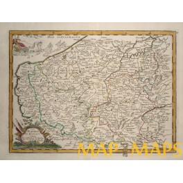 La Flandre Le Hayaut Belgium Old map Le Rouge 1743