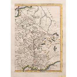 France rivers antique map by Mallet 1720.