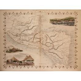 Central America original antique map by Tallis1851