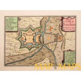 Fort Bouchain Valenciennes France antique map by Beaulieu 1688