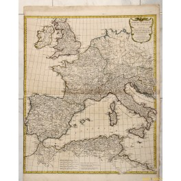 1763 ANTIQUE MAP, ORBIS ROMANI, ITALY SPAIN UK BY ANVILLE