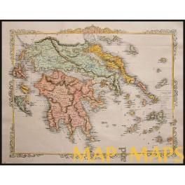Rare Antique Maps: Greece, Morea, Livadia, Rapkin 1860