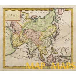 ASIA CHINA INDIA ANTIQUE MAP L'ASIE VAUGONDY 1750