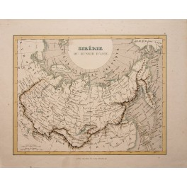 1838 antique map Russia Asia Siberia by Monin Fleming