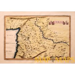 Ancient Syria map footsteps of Jesus Cellarius 1796