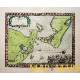 Denmark Zealand Sealand Sjælland old map Pufendorf/Dalhberg 1696