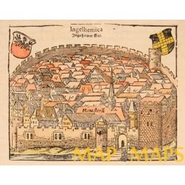 Ingelheim am Rhein Germany woodcut S. Munster 1550