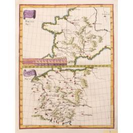 Antique map of the Roman Empire and Germania, Gallia Germania c. 1750