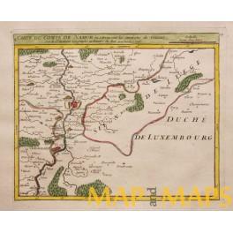 1748 Belgium Namur Dinant Wallonia antique map by ROBERT VAUGONDY