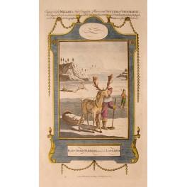 1782 Antique print, Rain deer sledges Lapland/Millar