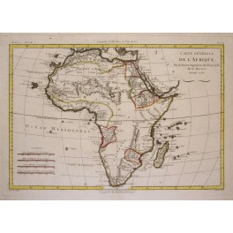 Africa Continent Afrika antique map by Bonne 1780