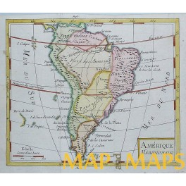 South America Paraguay Brazil Chili Old antique map by Vaugondy 1750