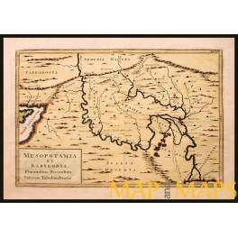 ANTIQUE MAP MESOPOTAMIA, BABYLONIA-ARABIA DESSERT-SYRIA-CYPRUS-CELLARIUS 1796