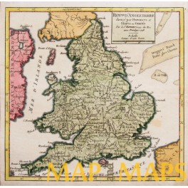 England and Wales antique map by Vaugondy 1748