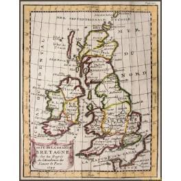 Carte de la Grande Bretagne, England Scotland Wales antique map by Buffier 1744