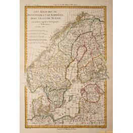 1781 Antique map Denmark Sweden Norway Finland Livonia by Bonne