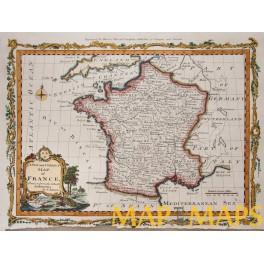 France antique original map by John Bowen- Moore 1780