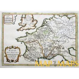 Roman Empire in Gallia antique map by Cellarius 1750