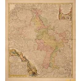 1720 antique map, THEATRUM BELLI RHENANI, German Hungarian, Switzerland, by Homan