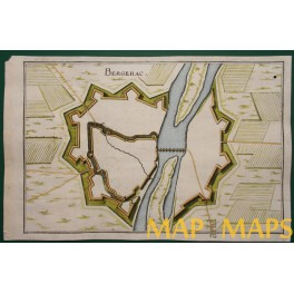 BERGERAC France Fortification copper plan by MERIAN 1661