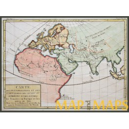Europe Africa Asia continents, antique map by DUMONDE