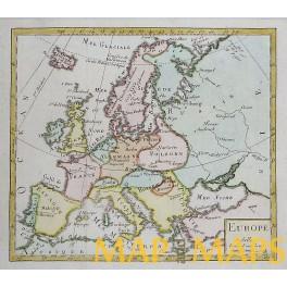 Europe Old antique original map by Vaugondy 1750