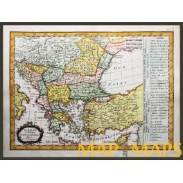 Turkey Serbia Romenia Macedonia antique map Delamarche 1783