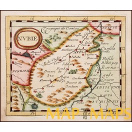 Nubie, Egypt Sudan 17th century engraved map by Duval 1694