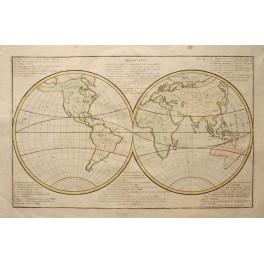 World Map Hemisphere Original antique Clouet 1785