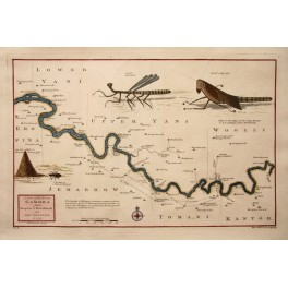 Gambia river Senegal Africa Incects map Kitchin 1730
