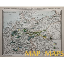 Antique Industry map of Germany, Brockhaus encyclopedia 1882