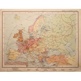 RAILWAY & STEANSHIP LINE ANTIQUE MAP EUROPE 1848