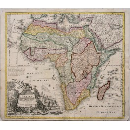 AFRICA CANARY ISLANDS ANTIQUE MAP BY SEUTTER 1730