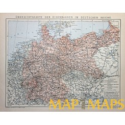 ANTIQUE MAP, THE RAILWAYS IN THE GERMAN EMPIRE, BROCKHAUS ENCYCLOPEDIA 1882