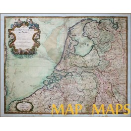 Rare Early Map of The Netherlands date 1702 Cartographer G. de L'Isle