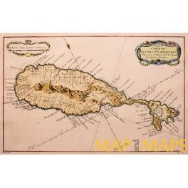 Saint Kitts-Saint Christopher Island-West Indies-OLD MAP BELLIN 1758