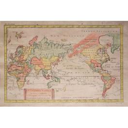ASIA AMERICA EUROPE AUSTRALIA ANTIQUE WORLD MAP 1780