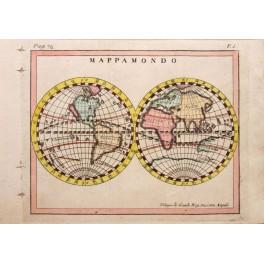 DOUBLE HEMISPHERE WORLDMAP MAP Buffier de Granda 1790