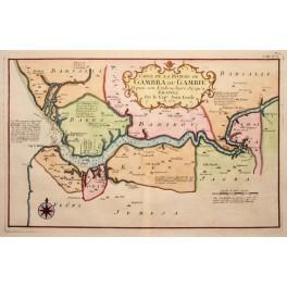 Africa Kingdoms Gambia river Senegal map Bellin 1732