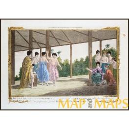 Capt.Wallis arrived Tahiti Hand colored engraving 1780