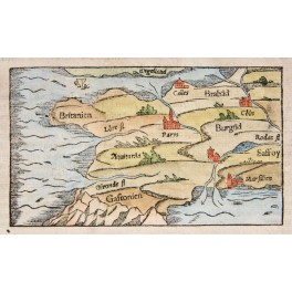 France ancient woodcut Cosmographic by Seb Munster 1574