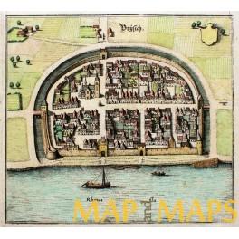 Bad Breisig Rhineland-Palatinate, Germany antique map Matthaus Merian 1654