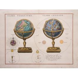 GLOBE TERRESTRE. – GLOBE CELESTRE map Le Rouge 1750