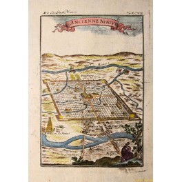 IRAQ NINIUE EUPHRATES RIVER ANTIQUE MAP BY MALLET 1684